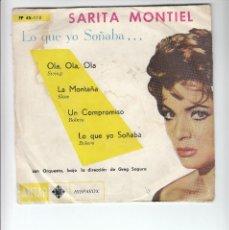 Discos de vinilo: SARITA MONTIEL: RARO Y ANTIGUO 4 CANCIONES DE URUGUAY-PORTADA ORIGINAL. Lote 126388843