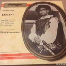 Discos de vinilo: GIUSEPPE VERDI - DIMITRI MITROPOULOS - ERNANI. CAJA 3XLP. EDICION ITALIA.. Lote 126405187