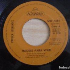 Discos de vinilo: PATRICK HERNANDEZ - NACIDO PARA VIVIR - SINGLE 1979 - AQUARIUS. Lote 126489487