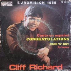 Discos de vinilo: CLIFF RICHARD - CONGRATULATIONS - SINGLE EUROVISION 1968. Lote 126567804