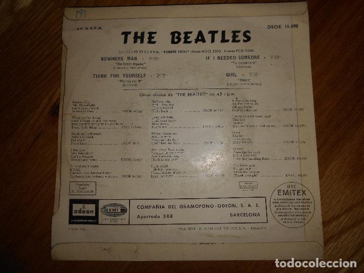Discos de vinilo: EP THE BEATLES EDITADO EN ESPAÑA NOWHERE MAN-THINK FOR YOURSELF-IF I NEEDED SOMEONE- GIRL - Foto 4 - 126959635