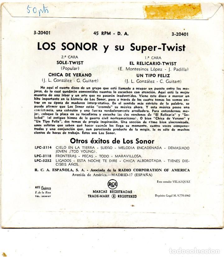 Discos de vinilo: SONOR, EP, SOLE-TWIST + 3, AÑO 1962 - Foto 2 - 126963079