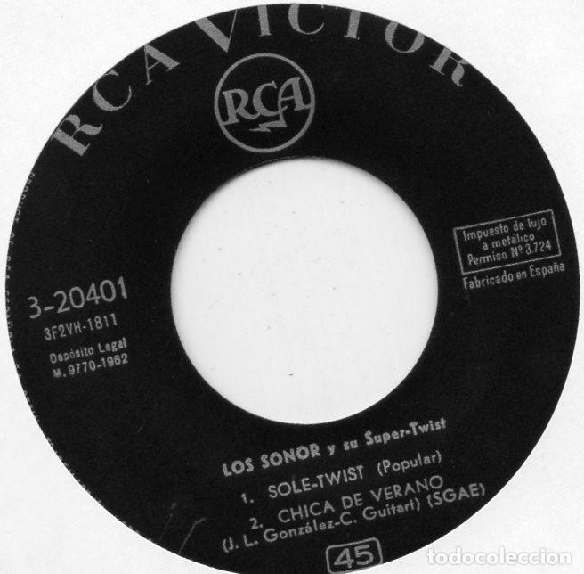 Discos de vinilo: SONOR, EP, SOLE-TWIST + 3, AÑO 1962 - Foto 3 - 126963079