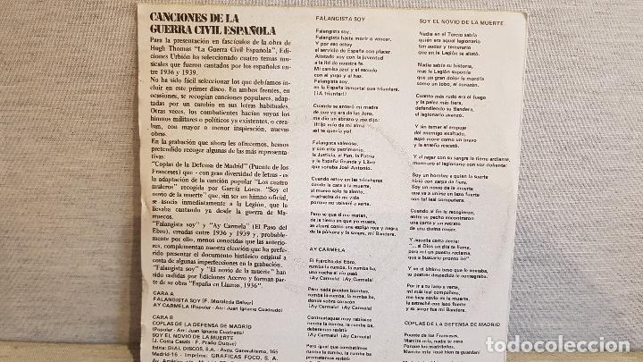 Discos de vinilo: CANCIONES DE LA GUERRA CIVIL ESPAÑOLA / EP -PROMO / ED URBIÓN / MBC. ***/*** - Foto 2 - 127048935