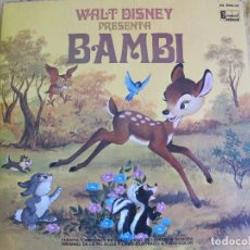 Discos de vinilo: LP - BAMBI - CUENTO, CANCIONES EN CASTELLANO Y LIBRO ILUSTRADO A COLOR (SPAIN, DISNEYLAND 1970). Lote 127136307