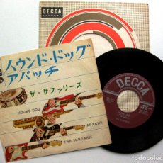 Discos de vinilo: THE SURFARIS - HOUND DOG / APACHE - SINGLE DECCA 1964 JAPAN (EDICIÓN JAPONESA) BPY. Lote 127172171