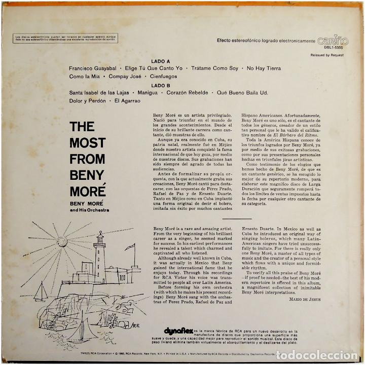 Discos de vinilo: Beny Moré – The Most From Beny Moré, Reissued By Request - Lp USA - Cariño DBL1-5000 - Foto 2 - 127172935