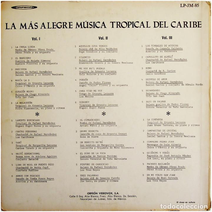 Discos de vinilo: VVAA - La mas alegre música tropical del Caribe - Triple Lp Mexico 1970 - Orfeon LP-JM-83 - Foto 2 - 127173295