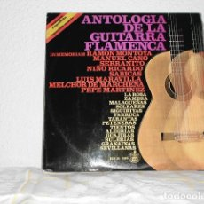 Discos de vinilo: ANTOLOGIA DE LA GUITARRA FLAMENCA LP IN MEMORIAM RAMON MONTOYA MANUEL CANO SERRANITO NIÑO RICARDO. Lote 127192607