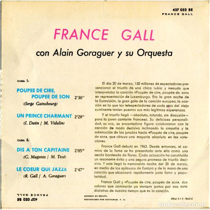 Discos de vinilo: France Gall – Poupée De Cire Poupée De Son - Ep Spain 1965 - Philips 437.032 BE - Foto 2 - 127210935