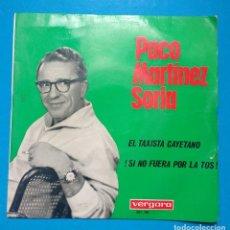 Discos de vinilo: PACO MARTÍNEZ SORIA : EL TAXISTA CAYETANO / ¡SI NO FUERA POR LA TOS...!. Lote 127481879