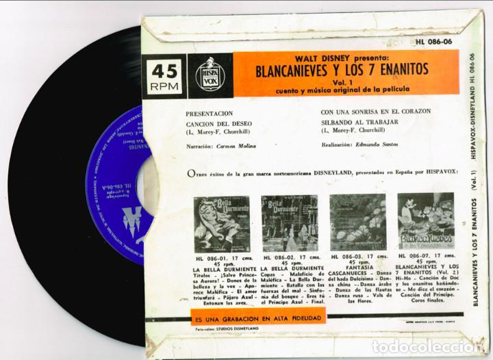 Discos de vinilo: CUENTO-DISCO DE BLANCANIEVES EN DOS VOLUMENES. Hispavox 1962 == BLANCA NIEVES - Foto 2 - 127520607