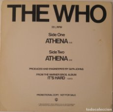 Discos de vinilo: THE WHO...ATHENA.(WARNER BROS. RECORDS 1982 )USA.PROMO. Lote 127560839