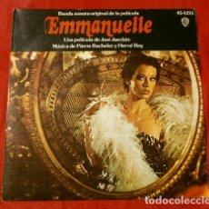 Discos de vinilo: EMMANUELLE (SINGLE BSO 1975) CANCIÓN DE EMMANUELLE VERSIÓN FRANCES E INGLES -MÚSICA: PIERRE BACHELET. Lote 127679755