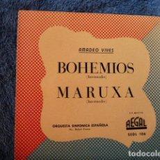 Discos de vinilo: BOHEMIOS Y MARUXA -POR LA ORQUESTA SINFONICA ESPAÑOLA. Lote 127681267