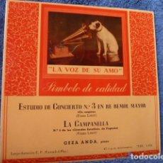 Dischi in vinile: GEZA ANDA -PIANO -ESTUDIO DE CONCIERTOS N.3 EN RE BEMOL MAYOR -LA CAMPANELLA DE FRANZ LISZT . Lote 127727395