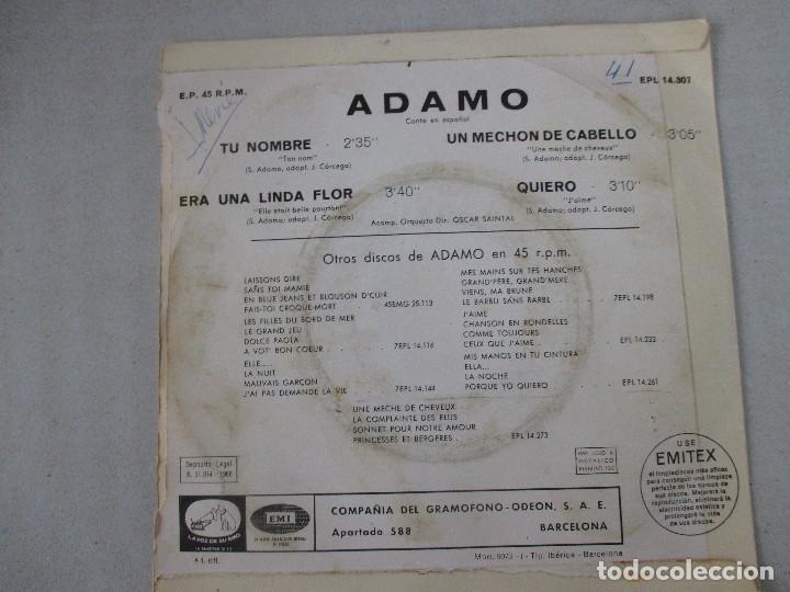 Discos de vinilo: Adamo Tu nombre +3 LA VOZ DE SU AMO 1966 - Foto 2 - 127796639