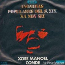 Discos de vinilo: XOSE MANOEL CONDE. ANÓNIMAS POPULARES DEL SIGLO XIX. XA NON SEI. SINGLE MOVIE PLAY, 1978. Lote 128046611