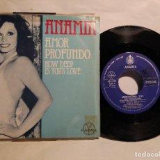 Discos de vinilo: ANA MÍA SINGLE 1978 AMOR PROFUNDO MÁS AMÁNDONOS 12 €TIENE TIJERETAZO ARRIBA. Lote 128053027