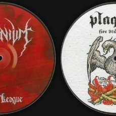 Discos de vinilo: TRIMONIUM / PLAGUED - BLOOD LEAGUE / FIRE STILL BURNS--BLACK METAL. Lote 128060783