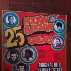 Discos de vinilo: ROCKIN`& ROLLIN`GREATS 1972 K-TEL RECORDS UK. Lote 128161175