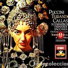 Discos de vinilo: PUCCINI - TURANDOT - TULLIO SERAFIN - CALLAS - LA SCALA - EMI - BOX - CAJA CON DOS LPS Y LIBRETO. Lote 128175115