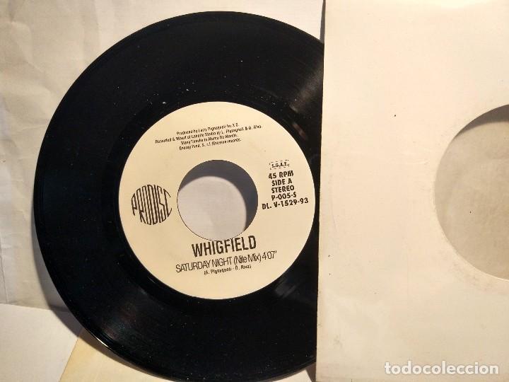 Discos de vinilo: WHIGFIELD SINGLE PROMOCIONAL PRESS PRESSING HECHO EN HECHO EN ITALIA DE SU PRIMER GRAN ÉXITO SATURD - Foto 2 - 128185135