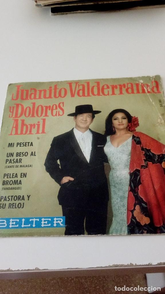 BAL-4 DISCO CHICO 7 PULGADAS JUANITO VALDERRAMA Y DOLORES ABRIL MI PESETA UN BESO AL PASAR (Música - Discos - Singles Vinilo - Otros estilos)