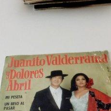 Discos de vinilo: BAL-4 DISCO CHICO 7 PULGADAS JUANITO VALDERRAMA Y DOLORES ABRIL MI PESETA UN BESO AL PASAR . Lote 128234555