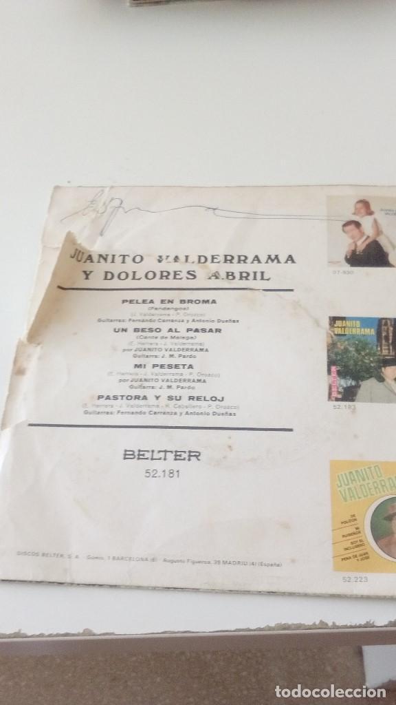 Discos de vinilo: bal-4 DISCO CHICO 7 PULGADAS JUANITO VALDERRAMA Y DOLORES ABRIL MI PESETA UN BESO AL PASAR - Foto 2 - 128234555