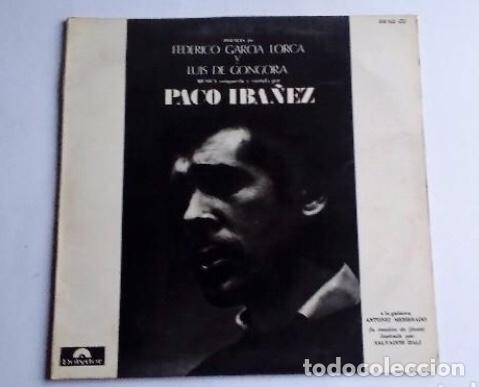 PACO IBAÑEZ ( POEMAS DE GARCIA LORCA Y LUIS DE GONGORA ) CONTRAPORTADA DIBUJO DE DALÍ 1976-SPAIN (Música - Discos - LP Vinilo - Solistas Españoles de los 70 a la actualidad)