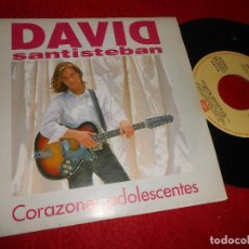 Discos de vinilo: DAVID SANTISTEBAN CORAZONES ADOLESCENTES 7'' 1992 EMI PROMO DOBLE CARA. Lote 128390723