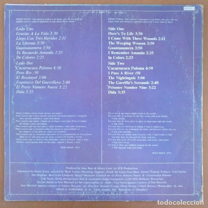 Discos de vinilo: JOAN BAEZ LP GRACIAS A LA VIDA EL ROSSINYOL CANTADA EN CATALAN - Foto 3 - 128414539