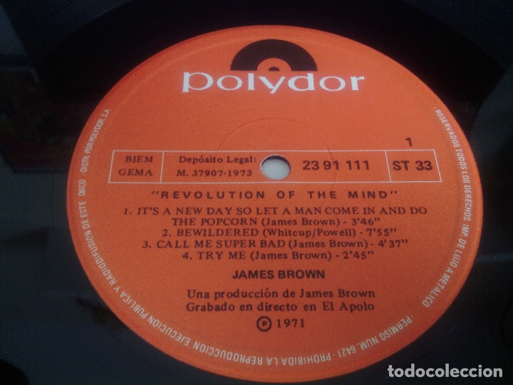 Discos de vinilo: LP vinilo JAMES BROWN - REVOLUTION OF THE MIND / Spain orig. edición 1974 / MUY RARO!!!!!!!!!! - Foto 5 - 128468235