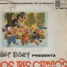 Discos de vinilo: WALT DISNEY PRESENTA VOL 1 - LOS TRES CERDITOS - EP DISNEYLAND 1960. Lote 128473775