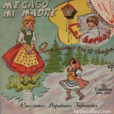Discos de vinilo: CANCIONES INFANTILES - EP COLUMBIA 1956 ME CASO MI MADRE PIÑON PIRULIN EL GATO + 3. Lote 128475043