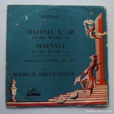 Discos de vinilo: 1956 LP MOZART, SINFONÍA 40, SERENATA EN SOL MAYOR, LA VOZ DE SU AMO, LALP 137. Lote 128595287