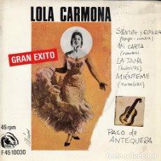 Discos de vinilo: LOLA CARMONA - SIENTATE Y ESPERA - EP DE VINILO - FIDIAS. Lote 128616931
