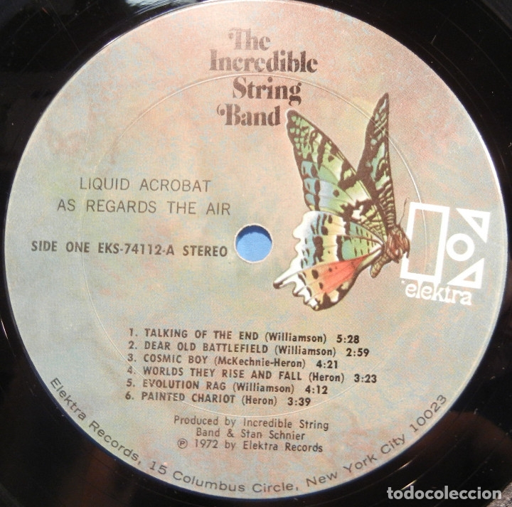 Discos de vinilo: THE INCREDIBLE STRING BAND / liquid acrobat regards the air 72, ELEKTRA PSYCHEDELIC , USA EDIT, EXC - Foto 5 - 128627207