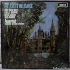 Discos de vinilo: DEBUSSY - PELLEAS ET MELISANDE - ANSERMET (CAJA 3 LPS + LIBRETO DECCA) VINILOS COMO NUEVOS. Lote 128657871