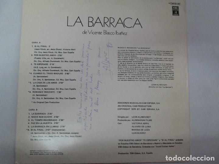 Discos de vinilo: BANDA SONORA ORIGINAL DE LA PELICULA LA BARRACA. POSIBLEMENTE DEDICADO POR ALVARO DE LUNA. 1979 - Foto 7 - 128677635