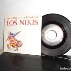 Discos de vinilo: LOS NIKIS -A NO VUELVO A IR A BENIDORM -LAS 2 CARAS - 3 CIPRESES- MADRID-1989- NUEVO-. Lote 128714795