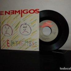 Discos de vinilo: LOS ENEMIGOS -A SEPTIEMBRE - B PAQUITO- GASA- GRABACIONES ACCIDENTALES - MADRID 1990-NUEVO-. Lote 128715303