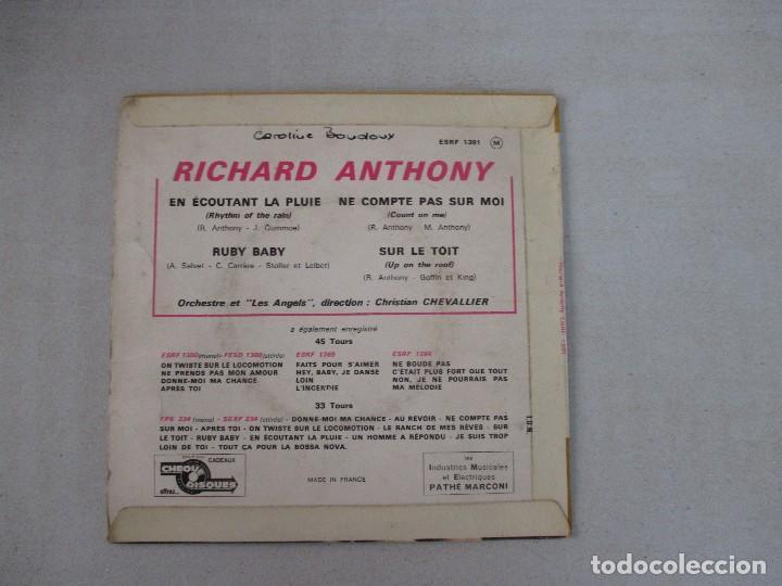 Discos de vinilo: Richard Anthony En écoutant la pluie + 3 COLUMBIA EDICIÓN FRANCESA - Foto 2 - 128740055