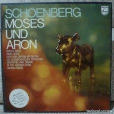 Discos de vinilo: SCHOENBERG - MOSES UND ARON (CAJA 2 LPS + LIBRETO PHILIPS ESPAÑA) VINILOS COMO NUEVOS. Lote 128802907
