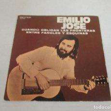 Discos de vinilo: EMILIO JOSE - CUANDO OBLIGAN LAS FRONTERAS + ENTRE FAROLES Y ESQUINAS -SINGLE- BELTER 1973 SPAIN. Lote 128852475