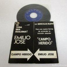 Discos de vinilo: EMILIO JOSE - CAMPO HERIDO -SINGLE 1 CARA- BELTER 1972 SPAIN 08-206 PROMO RADIOS GATEFOLD. Lote 128856463