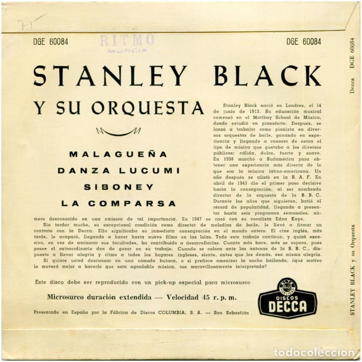Discos de vinilo: Stanley Black - Interpreta a Ernesto Lecuona - Ep Spain 1962 - Decca DGE 60084 - Foto 2 - 128966411