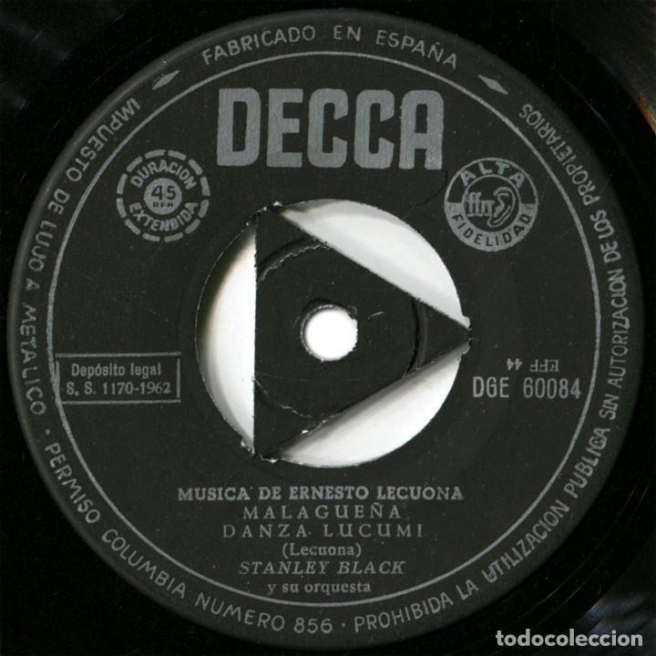 Discos de vinilo: Stanley Black - Interpreta a Ernesto Lecuona - Ep Spain 1962 - Decca DGE 60084 - Foto 3 - 128966411