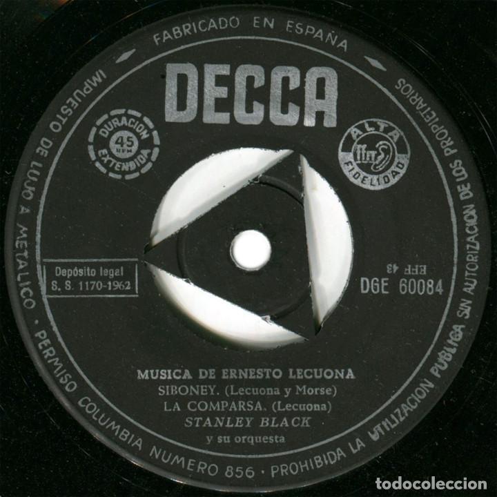 Discos de vinilo: Stanley Black - Interpreta a Ernesto Lecuona - Ep Spain 1962 - Decca DGE 60084 - Foto 4 - 128966411